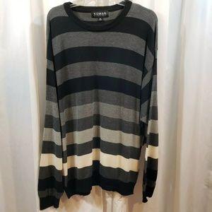 VTG sweater 5x gray black wide striped crewneckLLN
